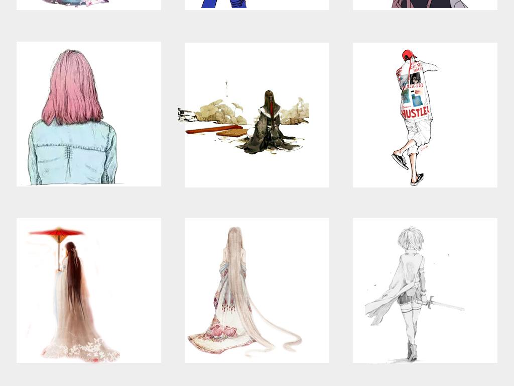 唯美手绘女孩背影古风彩绘人物背影插画png免扣素材