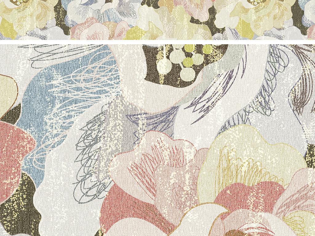 手绘花卉田园风地毯