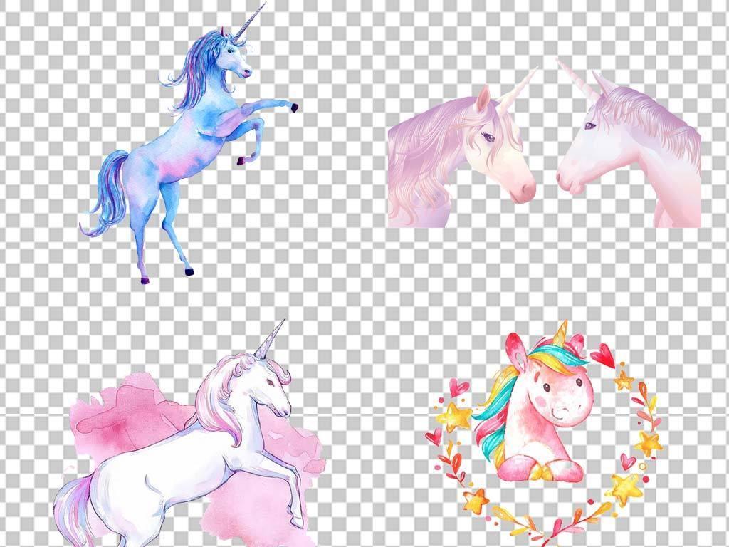 卡通手绘欧式独角兽天马飞马动物png素材