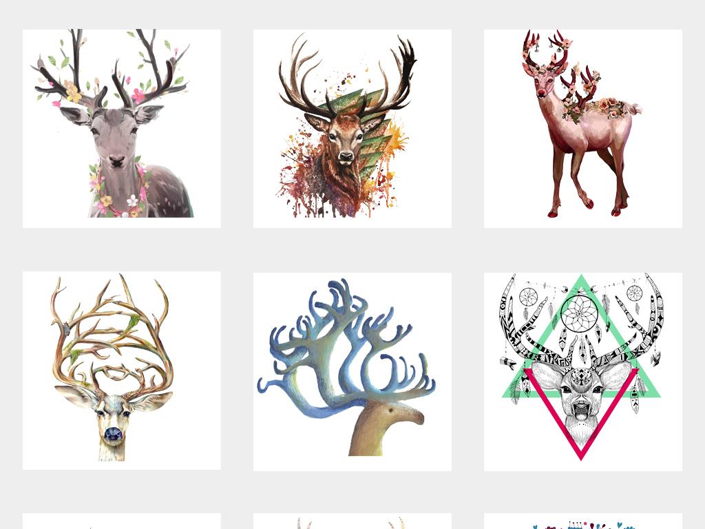 唯美手绘麋鹿角水彩现代抽象小鹿水墨梅花鹿插画png免