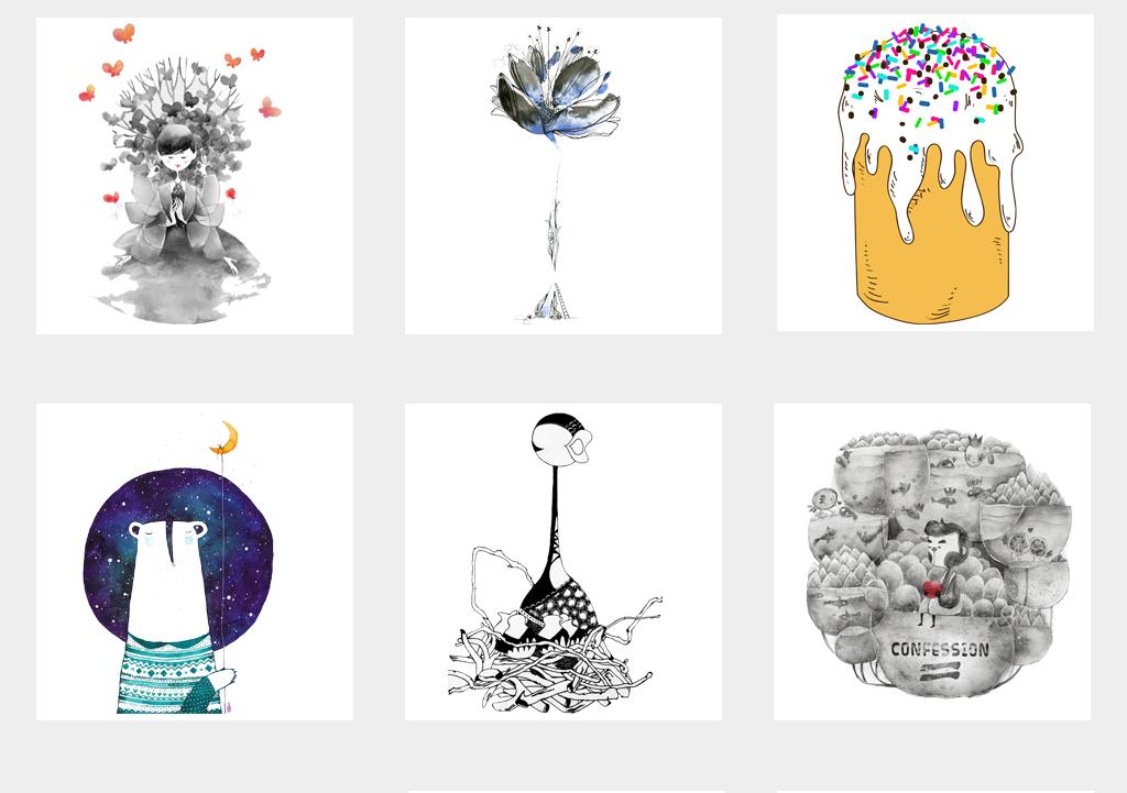 创意时尚简约抽象画插画背景png素材
