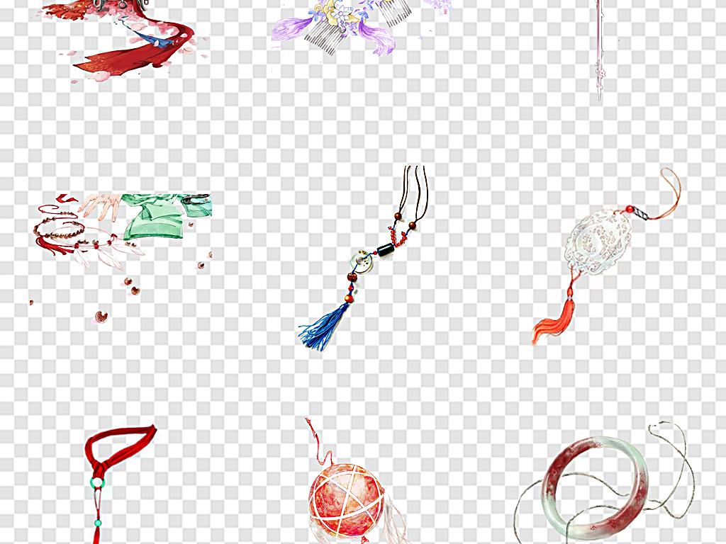 免扣元素 花纹边框 中国风边框 > 古风玉佩手绘古风玉佩  素材图片