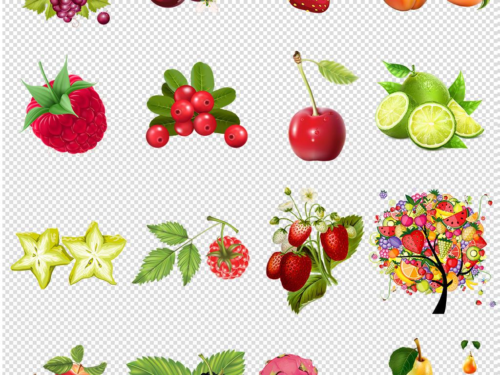 106个水果水彩手绘素材水果免扣png
