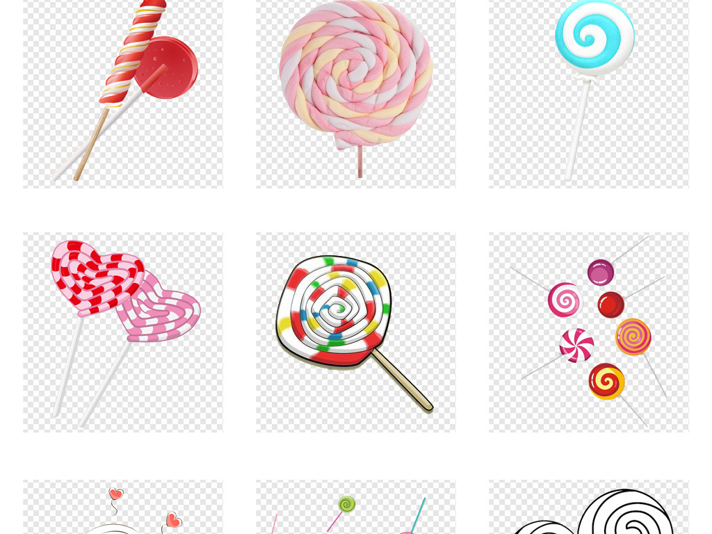 棒棒糖素材卡通可爱七彩彩色棒棒糖糖果