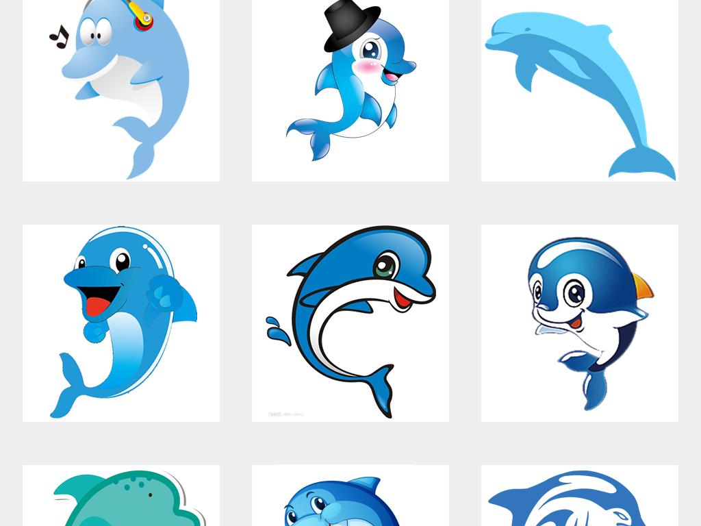 可爱卡通手绘海洋动物海豚png海报背景素材