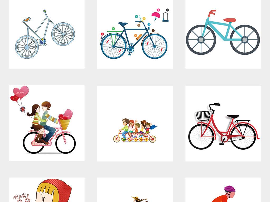 手绘唯美骑单车花篮插画自行车环保水彩素材
