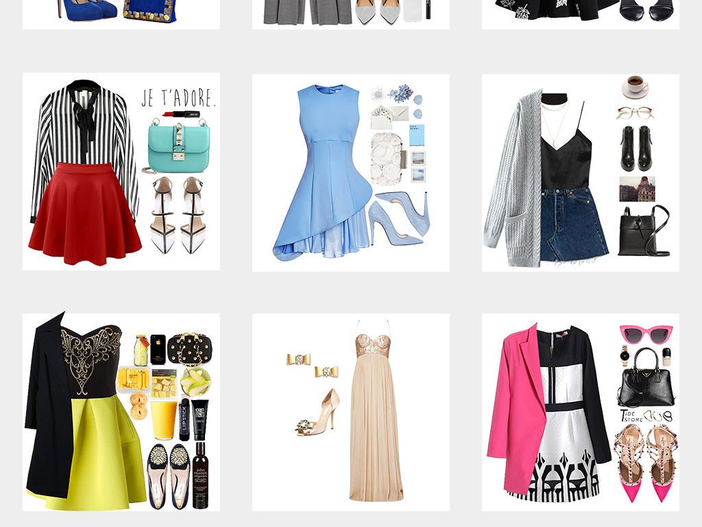 女装衣服搭配服装平铺海报png素材图片