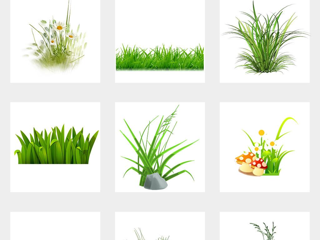 卡通手绘小花小草园林绿色植物png免扣素材