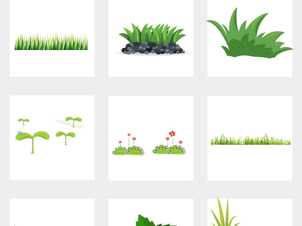 卡通手绘小花小草卡通花草植物边框png免扣素材