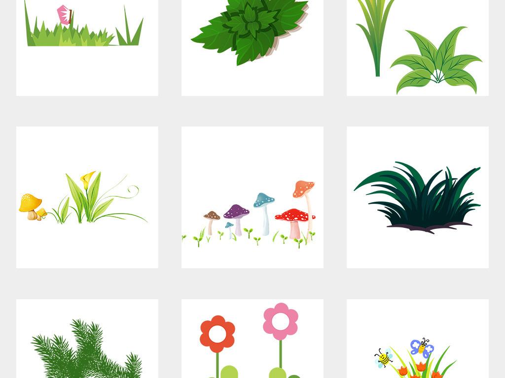 设计元素 自然素材 其他 > 卡通手绘小花小草卡通花草植物边框png免扣