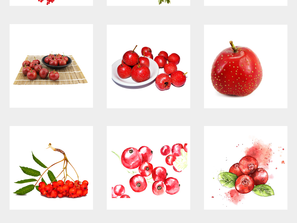 新鲜实物水果山楂手绘山楂海报设计png免扣元素