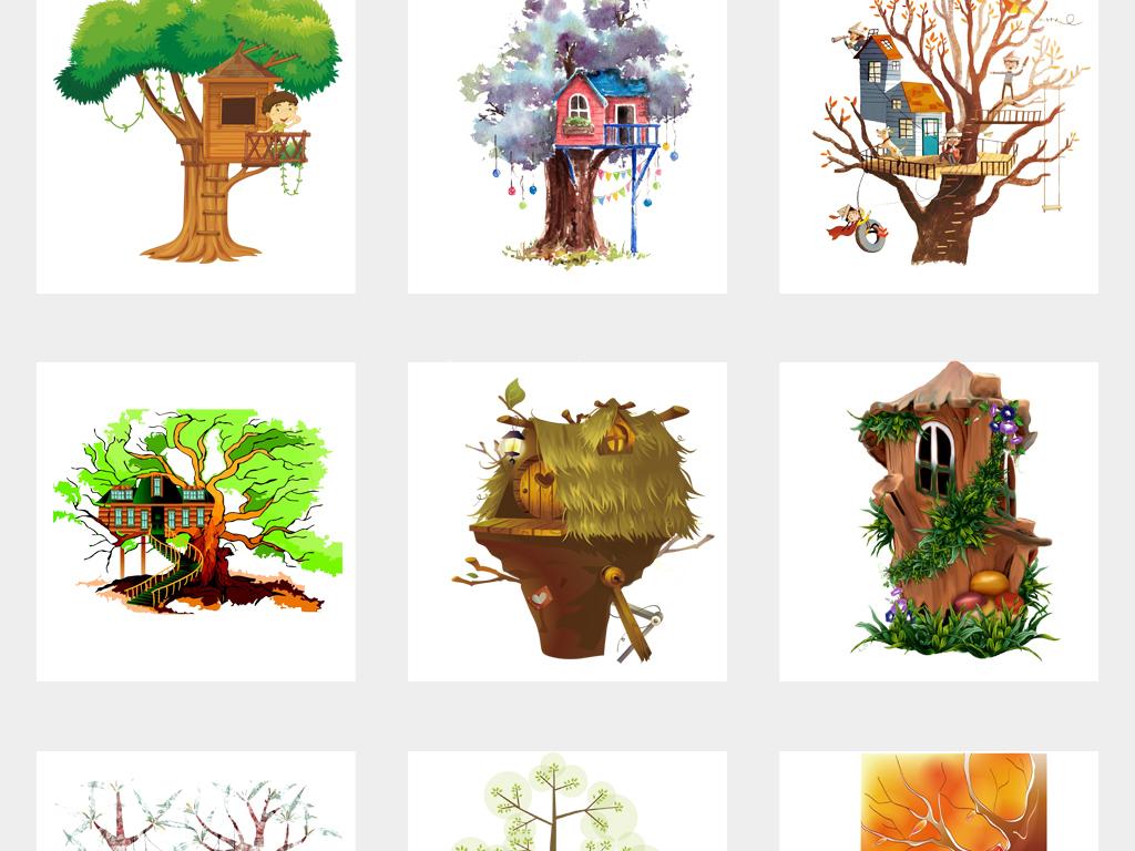 可爱卡通手绘梦幻树屋水彩创意童话树屋png免扣素材