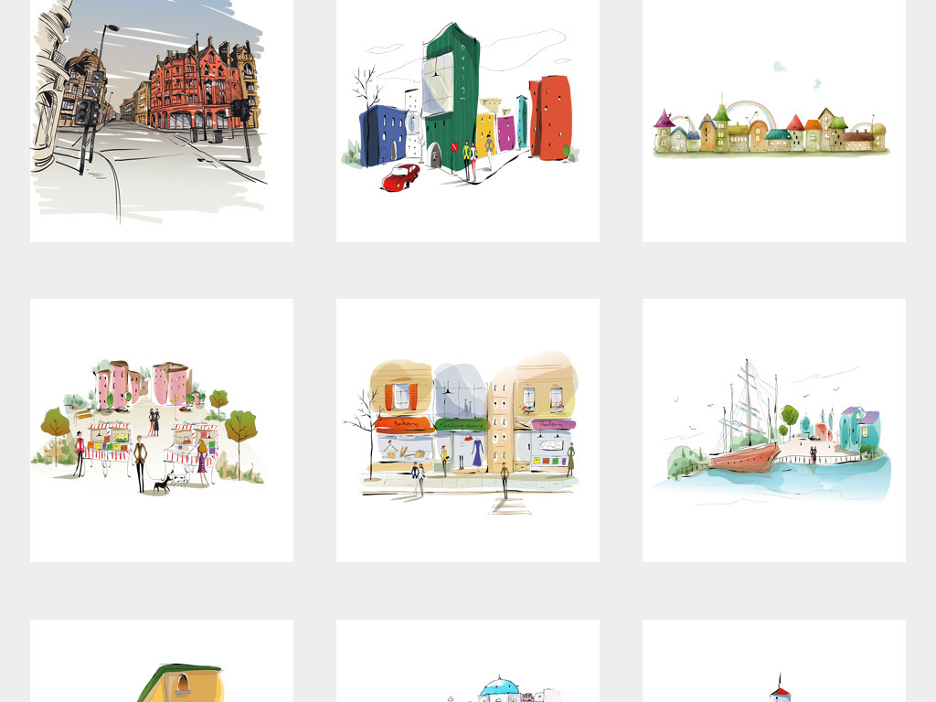 可爱创意彩色手绘城市建筑速写房子png免扣素材