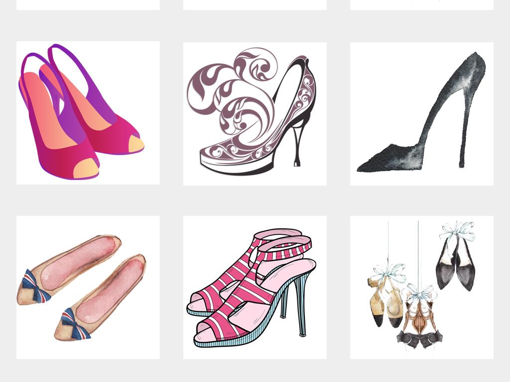 手绘时尚女鞋高跟鞋水彩高跟凉鞋海报设计png免扣素材