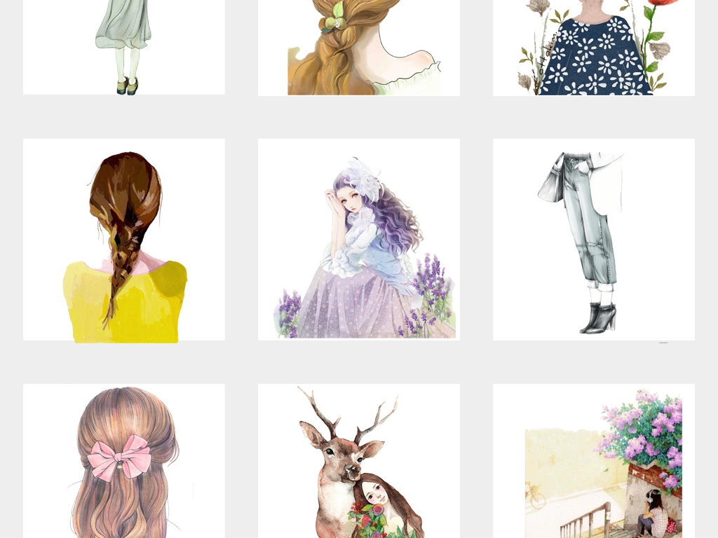 设计元素 人物形象 美女 > 唯美手绘文艺女孩插画少女png免扣素材