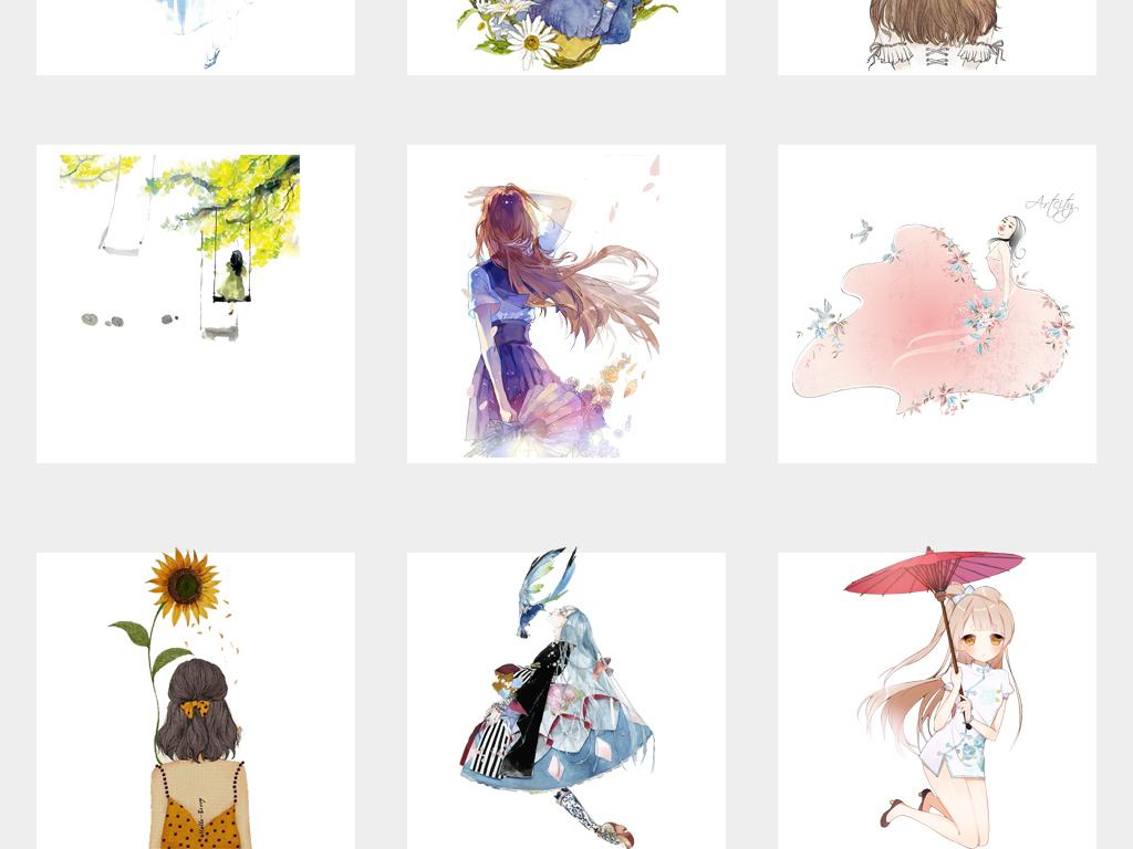小清新手绘文艺女孩插画少女png免扣素材图片_模板(30