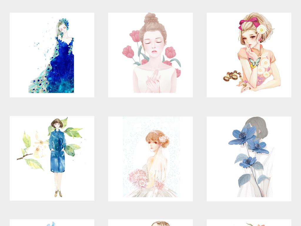 小清新手绘文艺女孩插画少女png免扣素材图片_模板(23