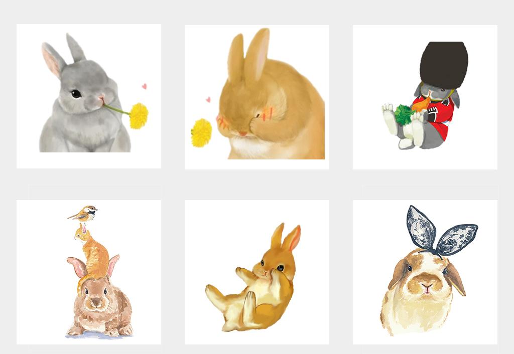 卡通可爱手绘兔子动物png免抠素材