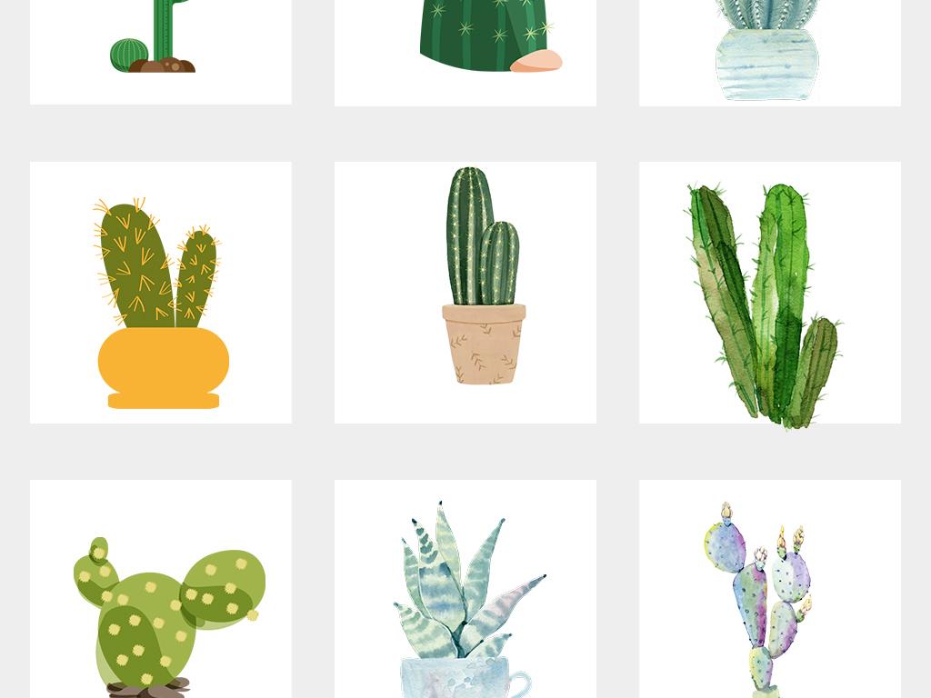 卡通可爱手绘仙人掌盆栽装饰免抠素材