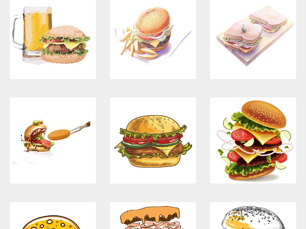 可爱手绘麦当劳肯德基汉堡插图png免抠素材