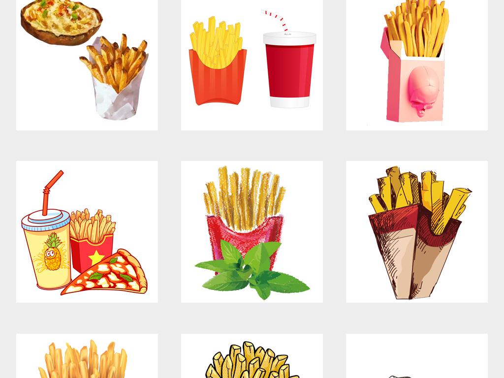 可爱卡通美味手绘薯条肯德基土豆海报png素材