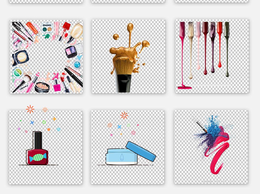 手绘各种化妆品化妆工具免抠png透明素材