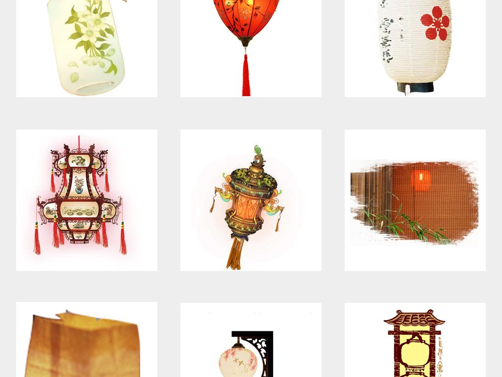 古典中国风手绘灯笼古风小红灯笼背景设计png免扣素材