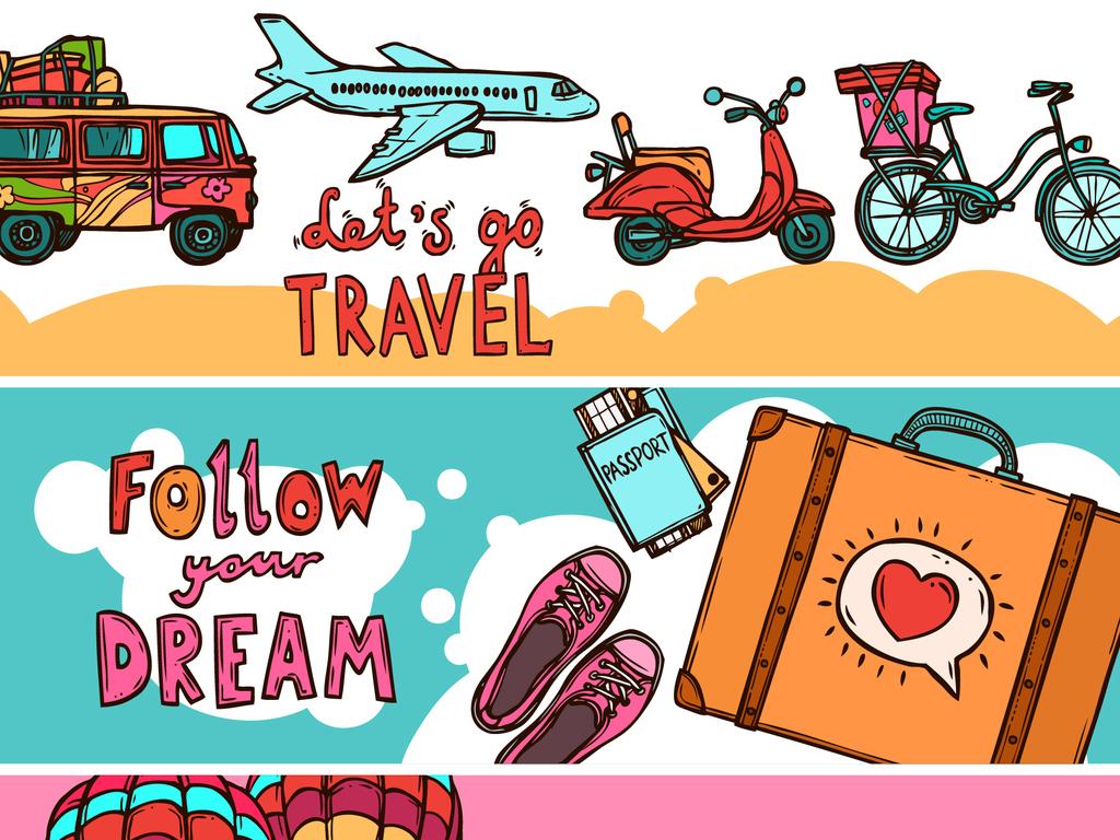 设计元素 花纹边框 卡通手绘边框 > 2018时尚复古手绘旅游海报banner