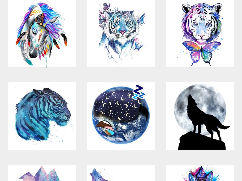50款抽象创意动物图形星空背景png免扣设计素材