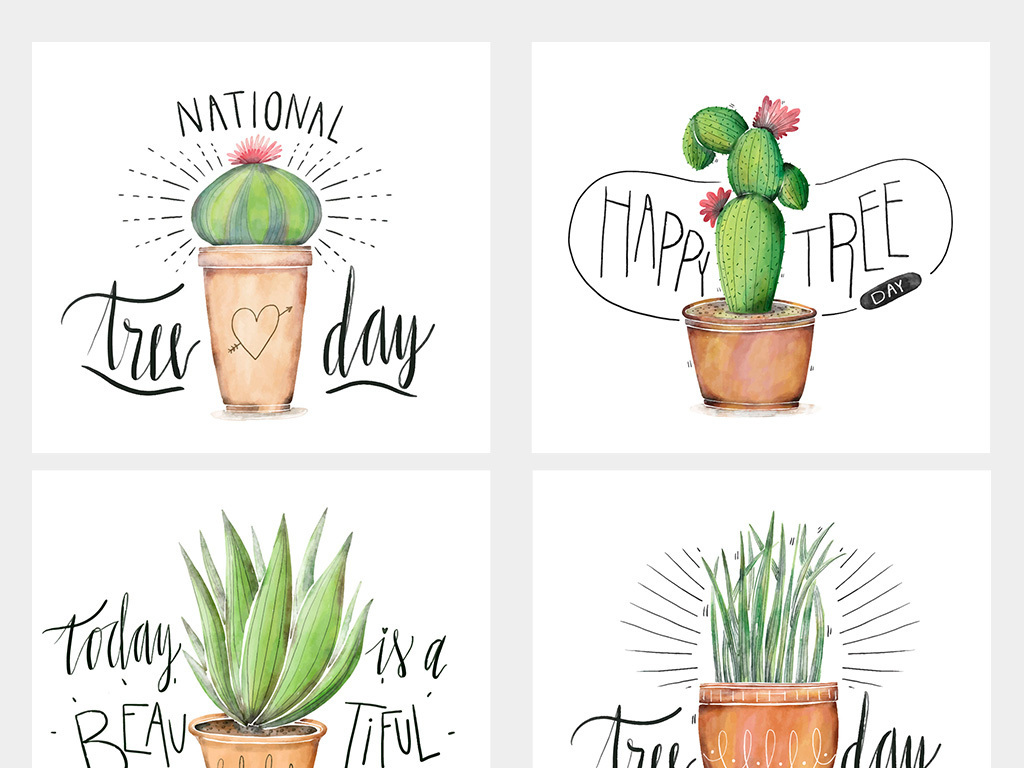 仙人球仙人掌多肉植物手绘涂鸦插画设计素材