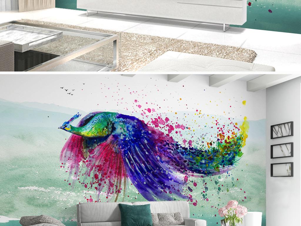 北欧手绘彩色喷墨孔雀背景墙壁画