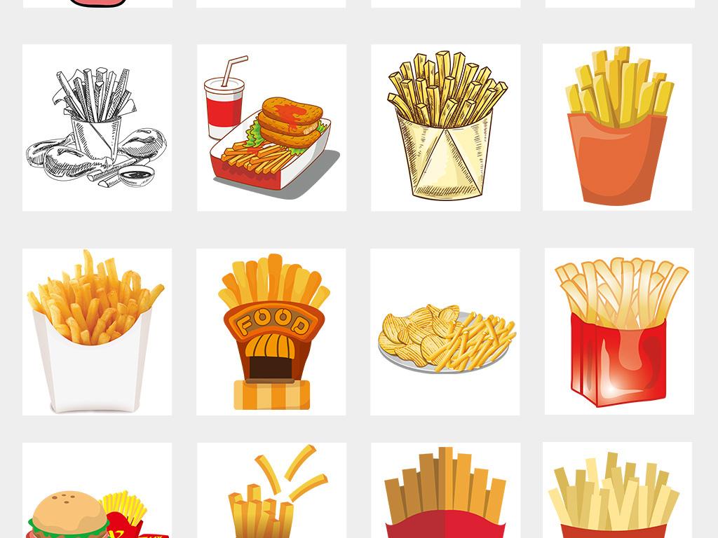 卡通手绘美味薯条土豆海报png素材