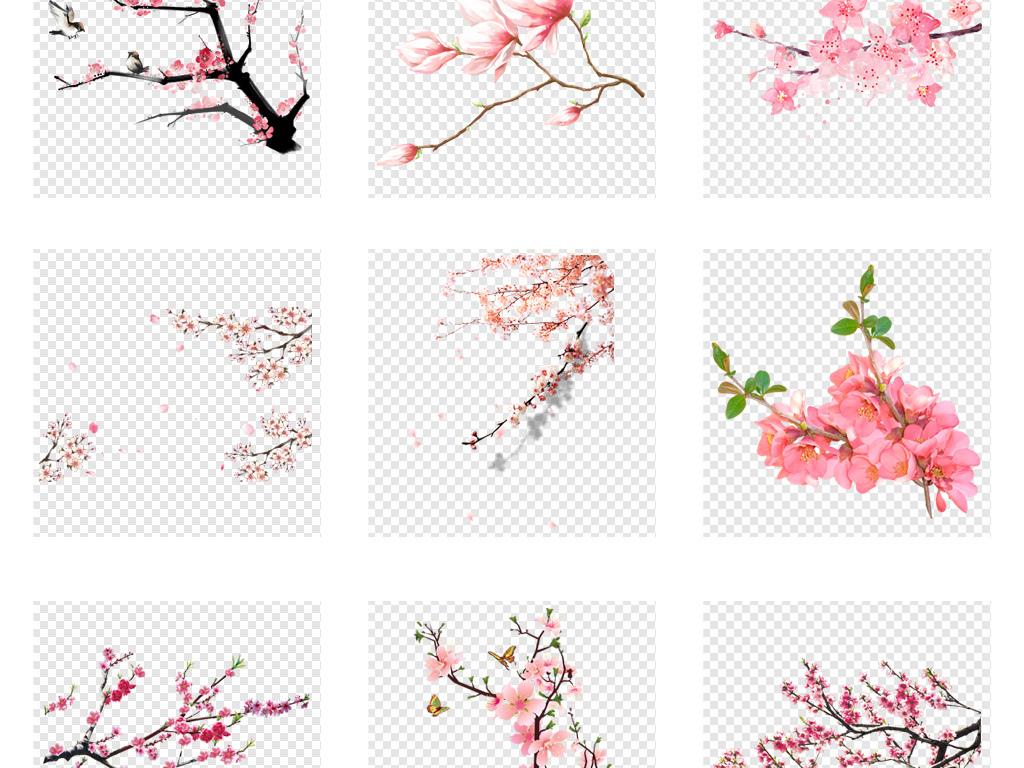 花环粉色浪漫背景手绘玫瑰月季花爱心心形花瓣素材花樱花手绘梅花桃花