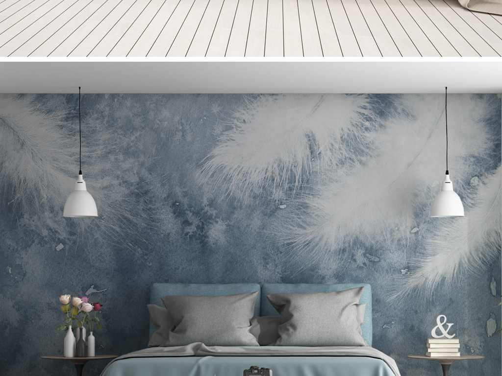 现代简约手绘羽毛小清新北欧背景墙