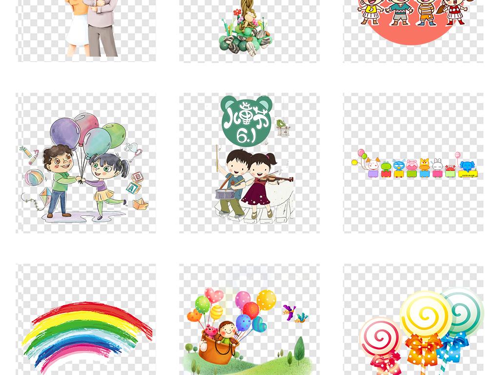六一儿童节卡通小学生儿童幼儿玩耍图片素材