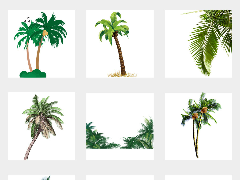 夏天沙滩椰子树海报png背景素材