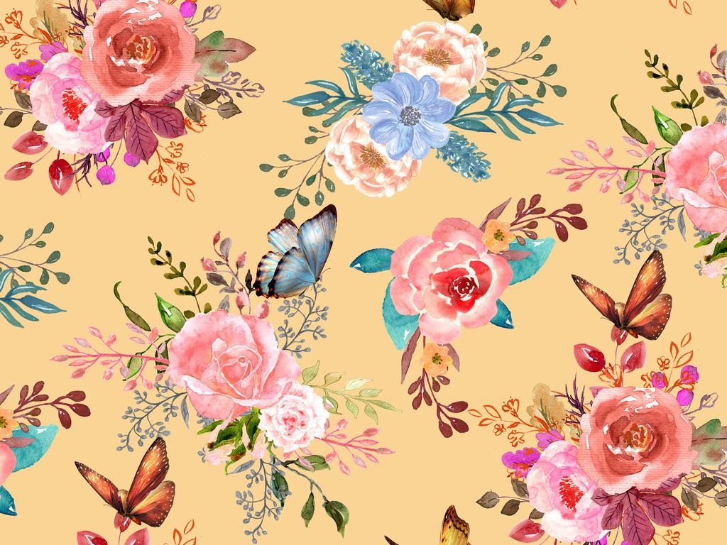 水彩小鸟植物叶子清新简约桃花矢量