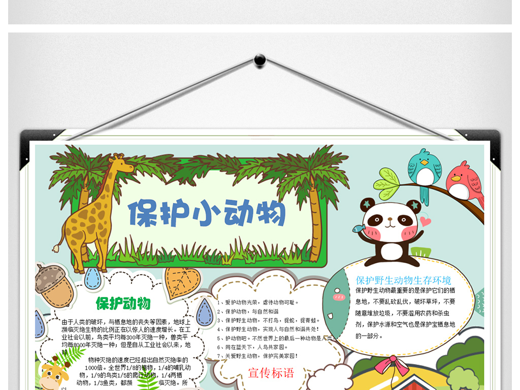 2018新保护动物手抄报教育小报word