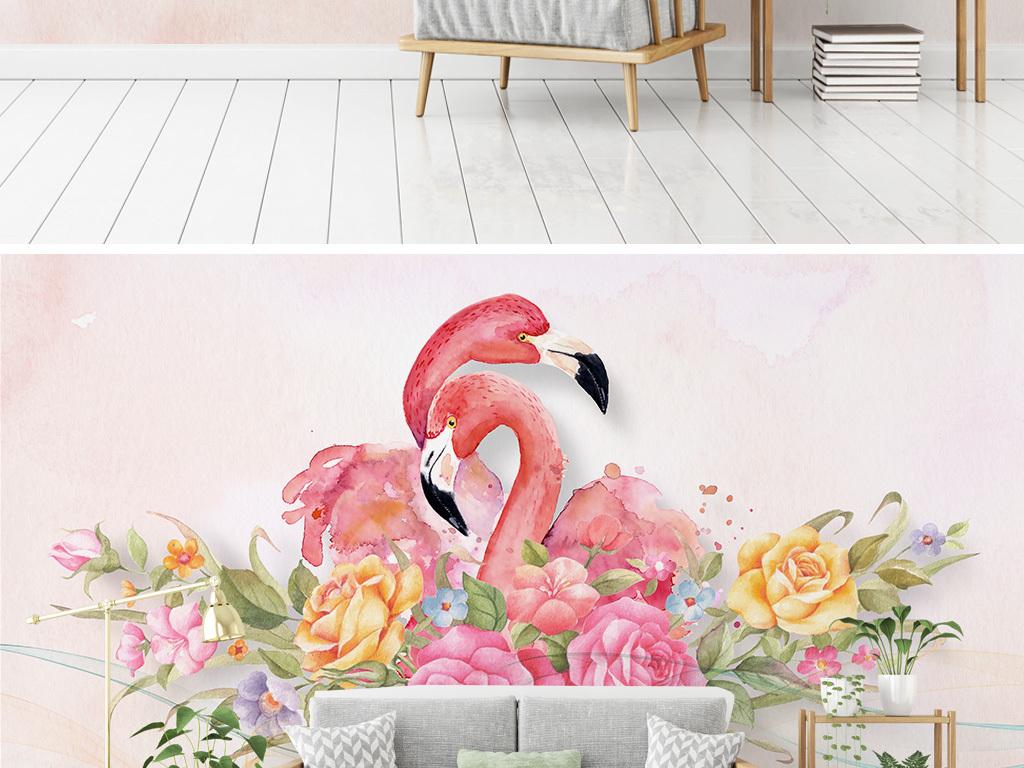 北欧手绘水彩玫瑰火烈鸟电视沙发背景墙