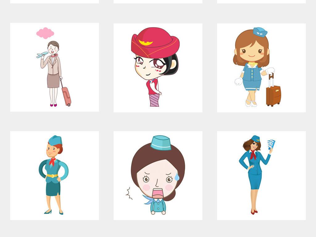 设计元素 人物形象 动漫人物 > 飞机票航空公司卡通空姐促销海报png