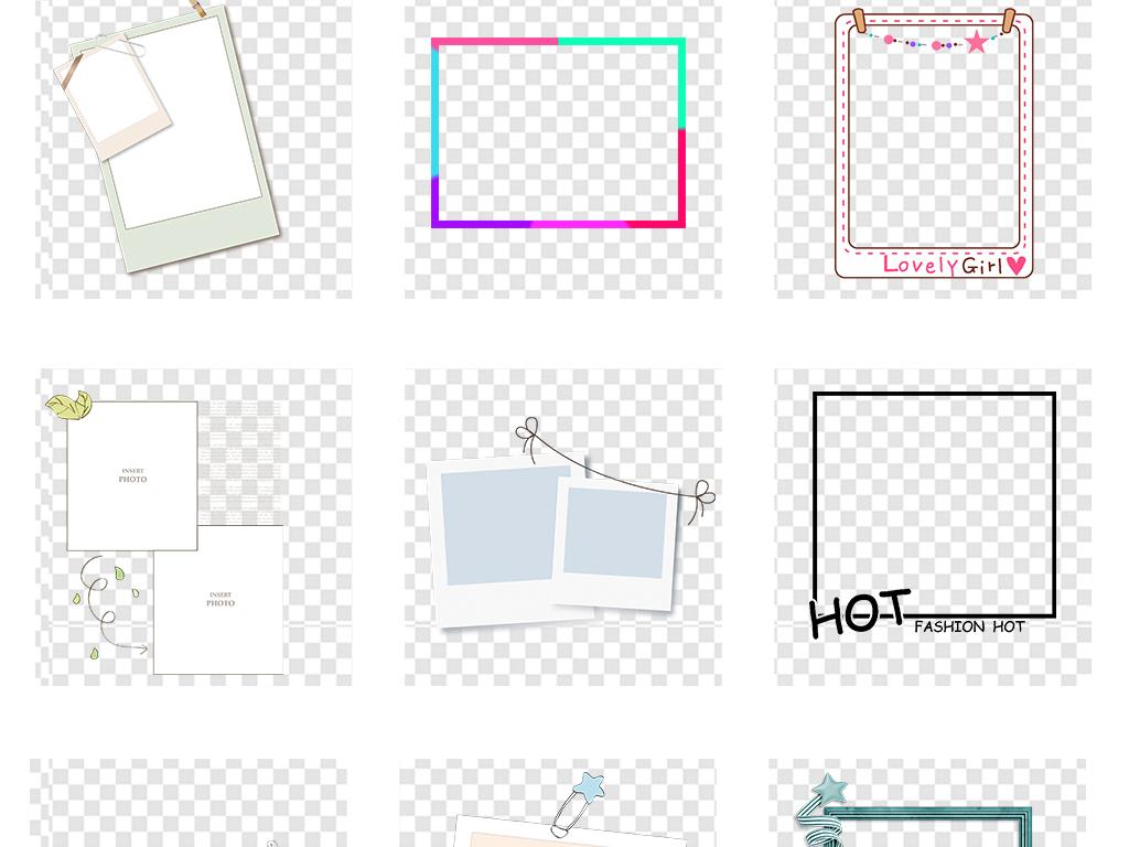 相片组合模板照片墙相框背景边框相框素材照片心形照片墙心形卡通边框