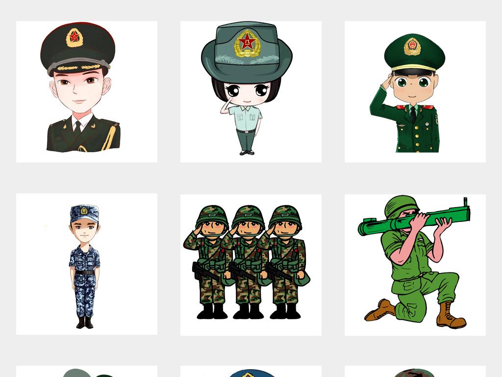 可爱卡通红军军人士兵人物png免扣素材