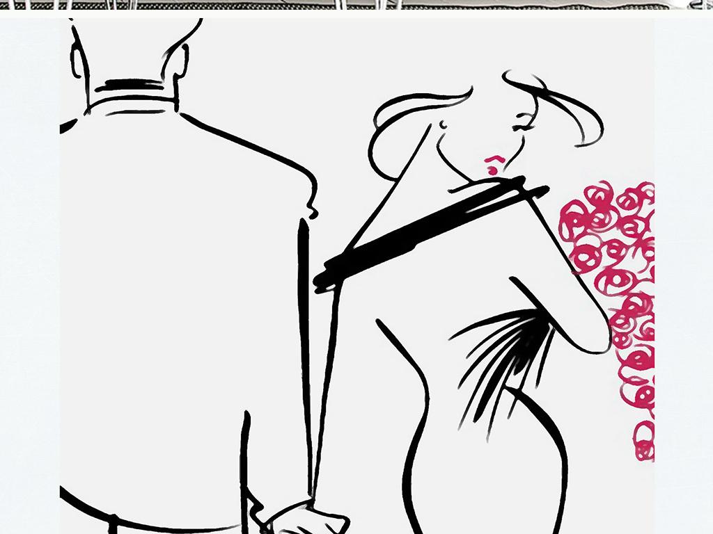 现代简约抽象手绘线条情女装饰画
