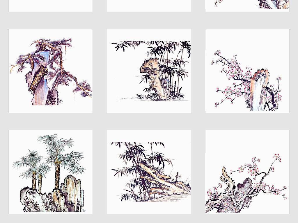 独立png/中国风手绘工笔画古树画