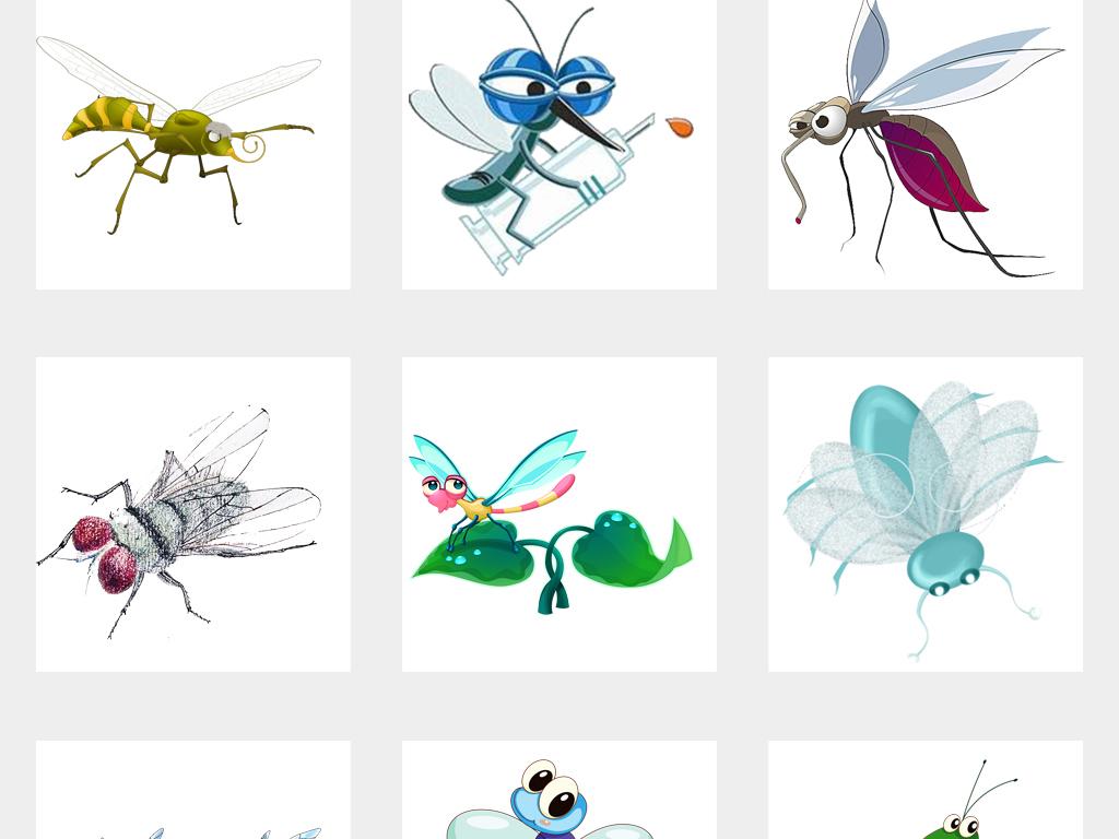 可爱卡通手绘蚊子苍蝇蚊虫png免扣素材