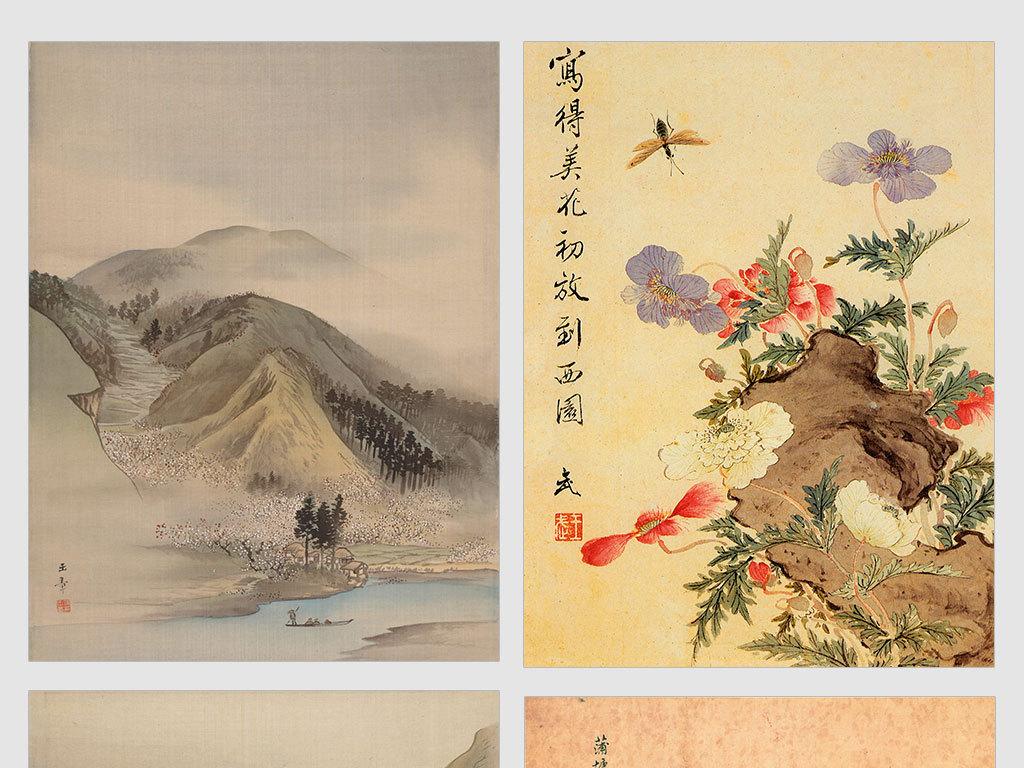 独立jpg/中式山水画电视沙发背景墙迎客松装饰画花鸟画图片