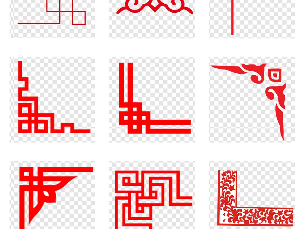 设计元素 其他 中国风素材 > 新中式古典花纹花边红色边框外框png素材图片