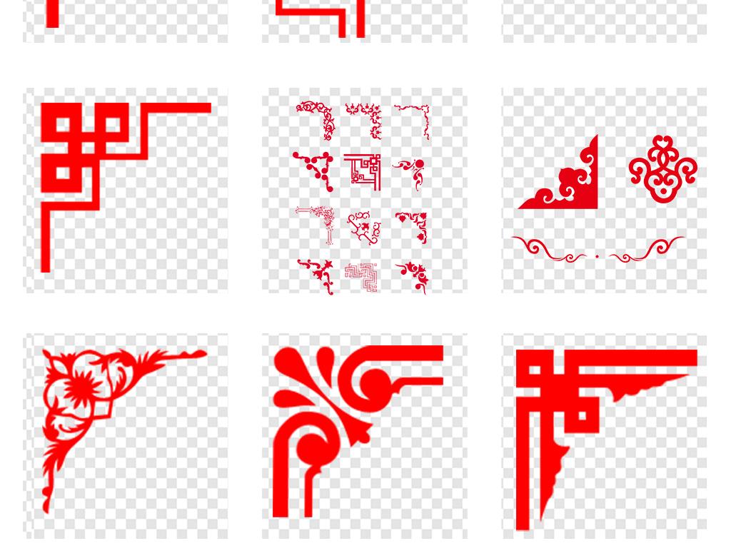 新中式古典花纹花边红色边框外框png素材