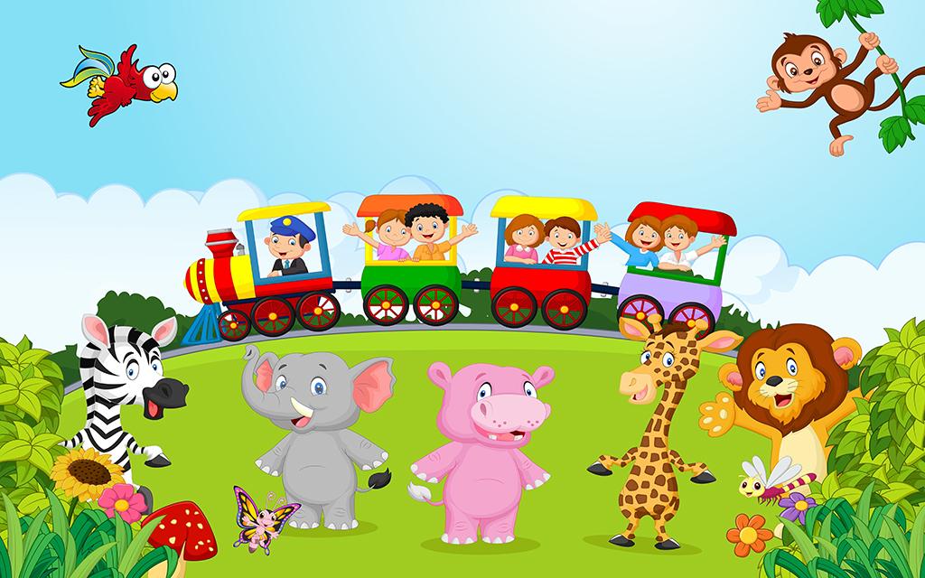 高清卡通儿童房之森林小火车与动物装饰画图片