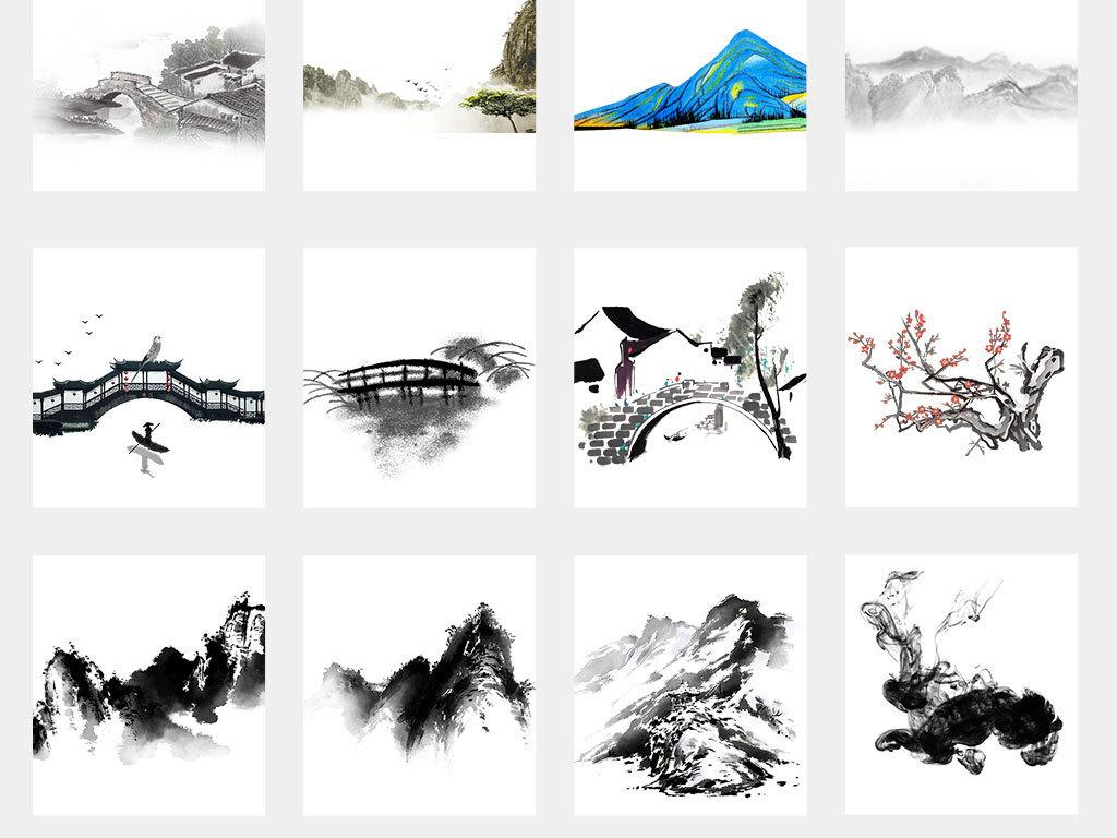 中国风手绘水墨江南水乡风景PNG背景图片素材 模板下载 121.57MB